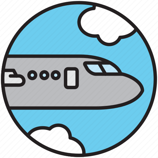 airplane, cloud, flight, fly, plane, sky, transport icon