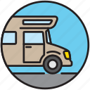 camping, motorhome, house, house van, camp, vacation icon