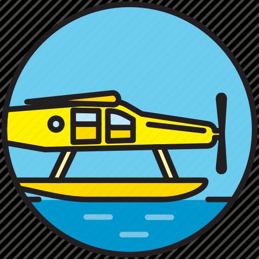 airplane, flight, flying, hydro airplane, hydroplane, seaplane, transport icon