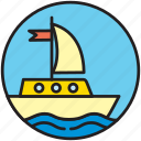 boat, nautics, sailboat, sailing, ship, transport, yachting icon