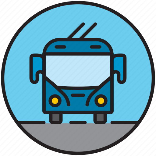 bus, city transport, driving, front, public transport, trolley, trolleybus icon