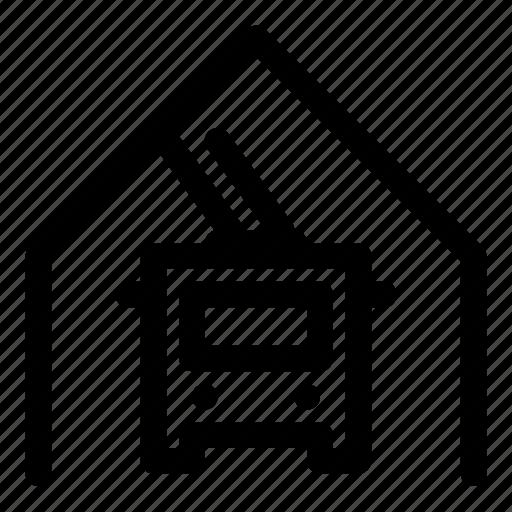 depot, garage, transport, trolley, trolleybus, yard icon