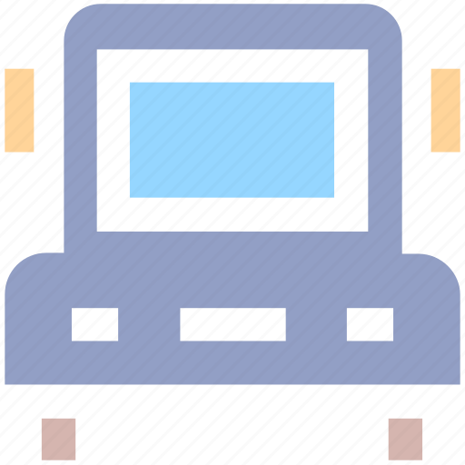 cargo, delivery, front, school bus, transport, truck icon