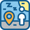 location, people, rest, rest area, safe area, safe zone, sleeping icon