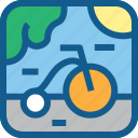 bicycle, cycle, green, hobby, park, road, transportation icon