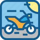 motor, motorcycle, road, trail, transportation, vehicle icon