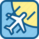 airport, flying, plane, sky, transportation, vehicle icon