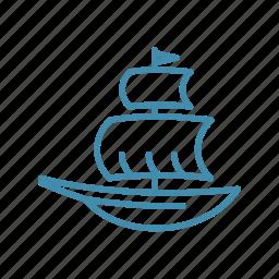 boat, nautical, sail, sailboat, ship, transport icon