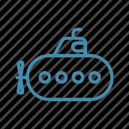 adventure, ship, submarine, transport, travel, underwater icon
