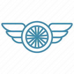 fast, speed, transport, wheel, wing icon