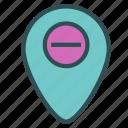 mark, minus, pin, point, remove icon
