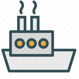 boat, factory, production, ship icon