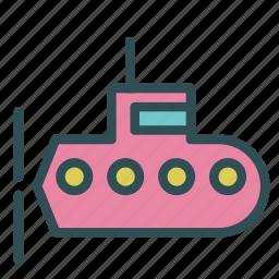 submarine, transport, travel, underwater, water icon