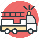 emergency, firetruck, ladder truck, rescue truck, truck icon
