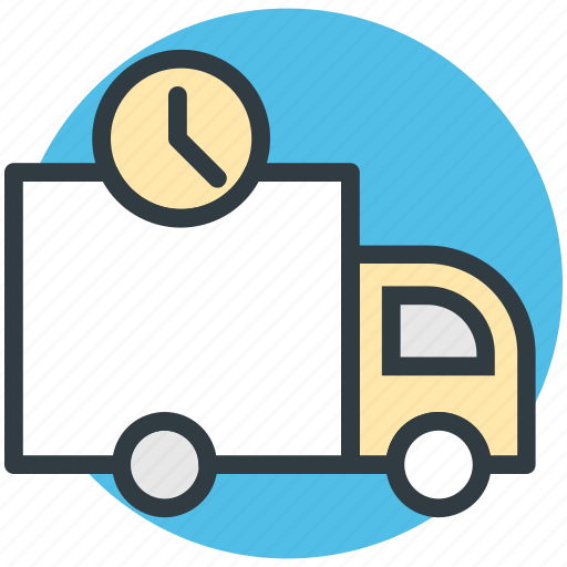 cargo truck, clock sign, delivery van, hatchback, logistic delivery icon