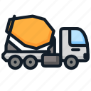 cargo, cement, mixer, transportation, truck icon