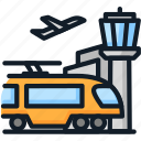 airport, subway, train, transport, travel icon