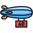 ad, advertising, airship, promotion icon
