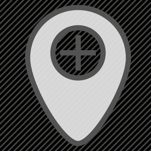 add, mark, pin, plus, point icon