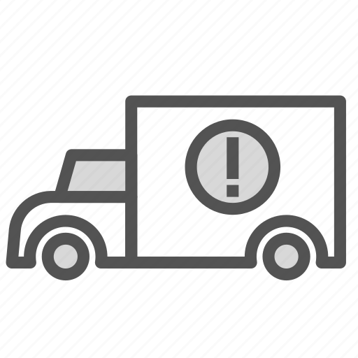 car, cargo, exclamation, point, transport, truck icon