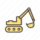 construction, excavator, machinery, work icon