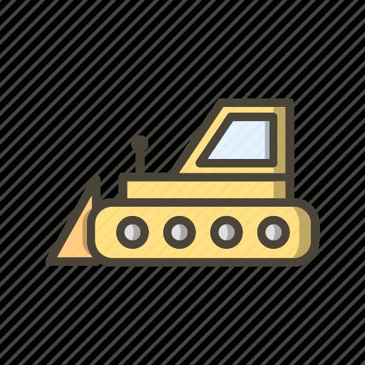 bull dozer, bulldozer, machine icon