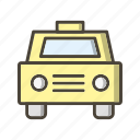cab, taxi, vehicle, yellow icon