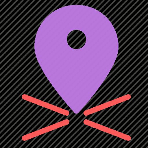 cross, large, location, mark, pin icon