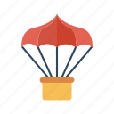 airballoon, fly, parachute, trasnport, travel icon