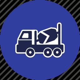 concrete mixer, construction, heavy, machine, trailer, truck, work icon