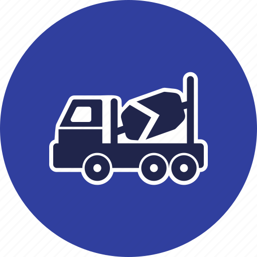 concrete mixer, heavy work, truck icon