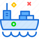 heavy, materials, sail, ship, sideview, transportation, water icon