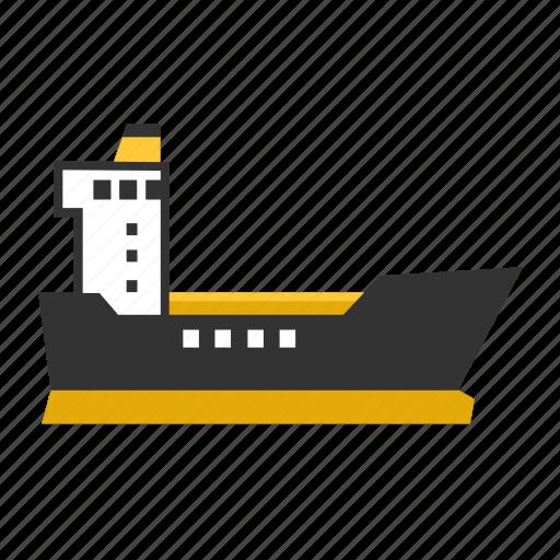 boat, cargo, ocean, sea, ship, transport icon