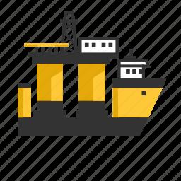 drilling, heavy, off shore, oil, rig, semi, submersible icon