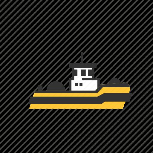 and, barge, boat, harbor, pilot, tug, tugboat icon