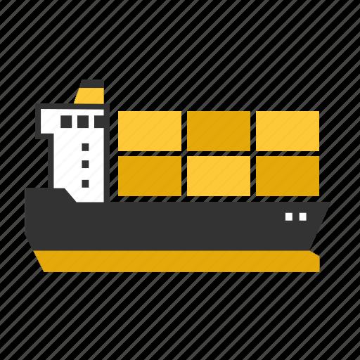 big, cargo, container, ship, transport icon