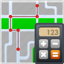 calculator, gps, location, map, navigation, road, route optimizer icon
