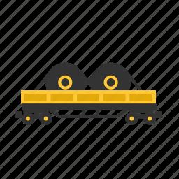 car, dump, roles, steel, train, transport icon