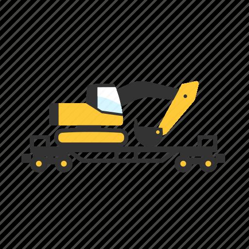 car, construction, digger, flatcar, train, transport, wagon icon