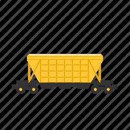corn, cravel, hopper, sand, train, transport, weeds icon