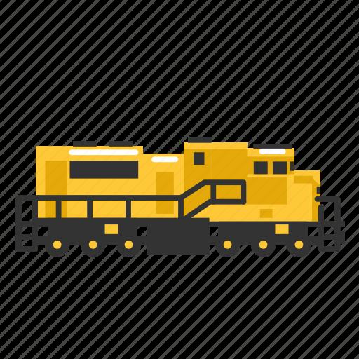 diesel, locomotive, strong, train, transport, wagons icon