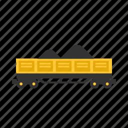 car, coal, open, sand, train, transport, wagon icon