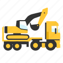 crane, digger, flatbed, hauler, heavy, trailer, truck icon