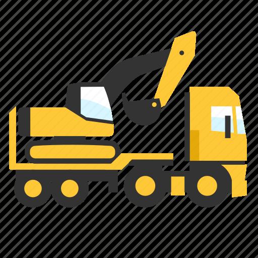 crane, digger, flatbed, hauler, heavy, trailer, truck icon