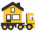 hauler, heavy, house, load, trailer, transport, truck icon