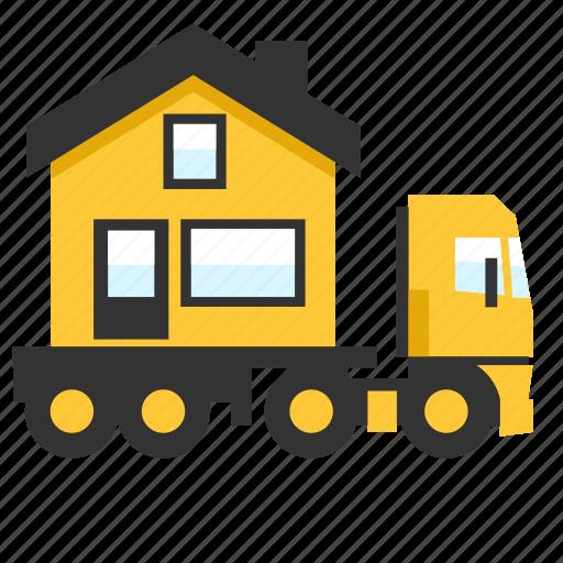 hauler, heavy, house, load, trailer, transport, truck icon
