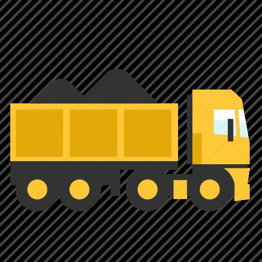 contruction, dump, heavy, sand, trailer, transport, truck icon