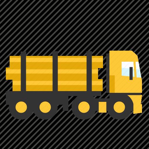 log, semi, trailer, transport, truck, wood icon