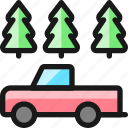 car, truck, woods