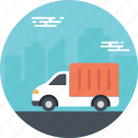 city delivery truck, city truck, delivery truck, transportation truck, transporting goods icon